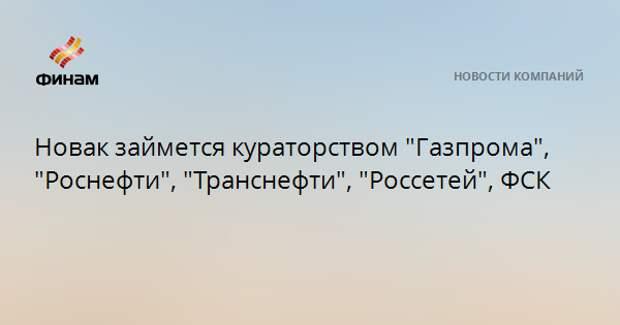 """Новак займется кураторством """"Газпрома"""", """"Роснефти"""", """"Транснефти"""", """"Россетей"""", ФСК"""