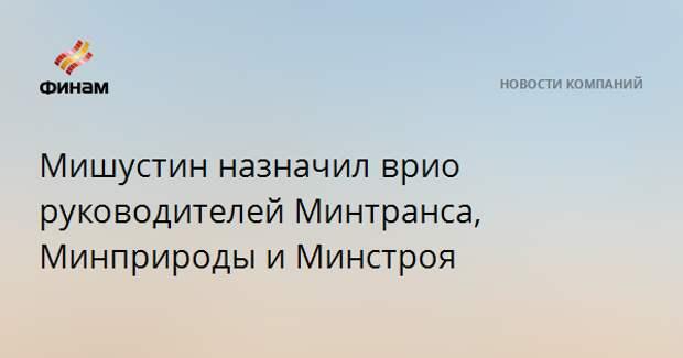 Мишустин назначил врио руководителей Минтранса, Минприроды и Минстроя