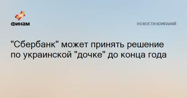 """""""Сбербанк"""" может принять решение по украинской """"дочке"""" до конца года"""