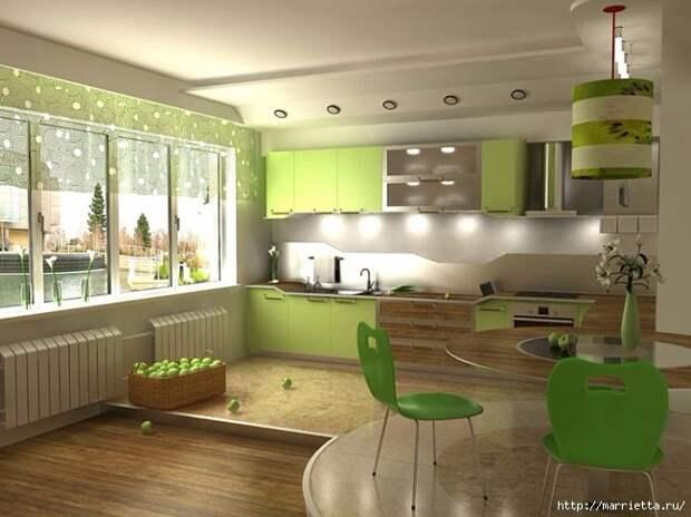 Как правильно оформить кухню в зеленых тонах (10) (650x487, 184Kb)