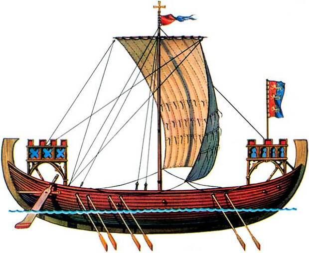 Северные соперники: скандинавский шнеккер и новгородское судно.