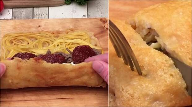 рулет из спагетти