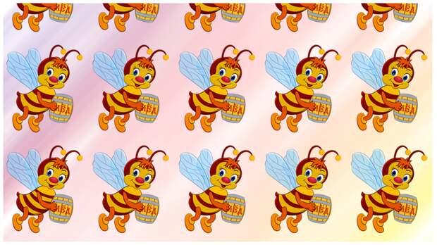 Тест на внимательность: найдите за 30 секунд чем отличается одна пчела от других пчел с бочкой меда