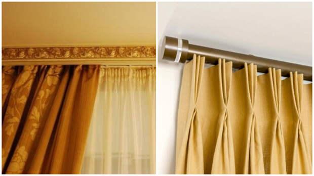 В эстетичном и богатом советском багете для штор (слева), к счастью, теперь нет необходимости.