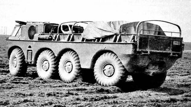 Удлиненный плавающий автомобиль ЗИЛ-135Б на заводских испытаниях история, ссср, факты