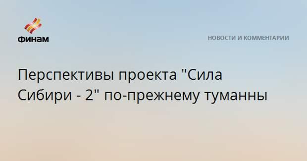 """Перспективы проекта """"Сила Сибири - 2"""" по-прежнему туманны"""
