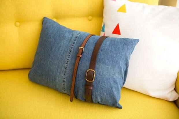 Подушка из джинсов и ремней (Diy)