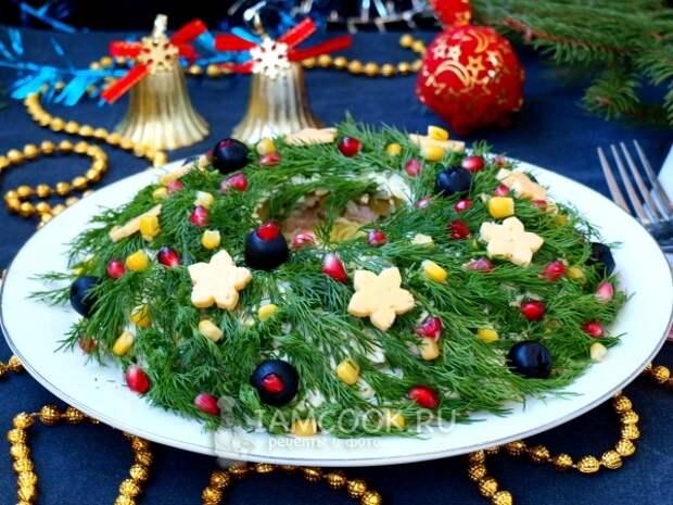 Рецепт салата «Рождественский венок» с говядиной