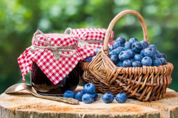 свежие ягоды голубики и варенье из голубики