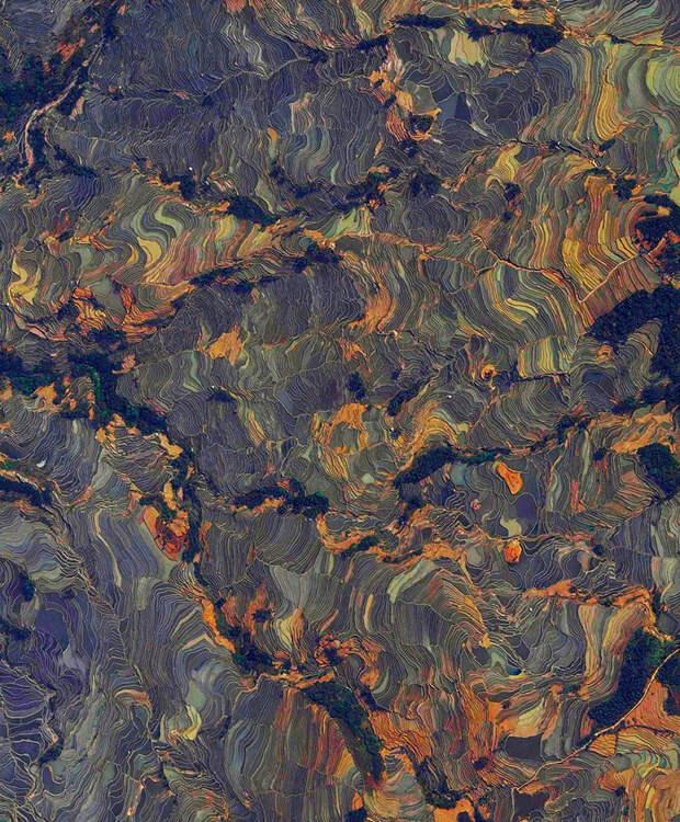 15. Рисовые террасы, Юаньян, Китай фото со спутника, фотограф Бенджамин Грант, фотографии