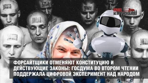 Форсайтщики отменяют Конституцию и действующие законы: Госдума во втором чтении поддержала цифровой эксперимент над народом