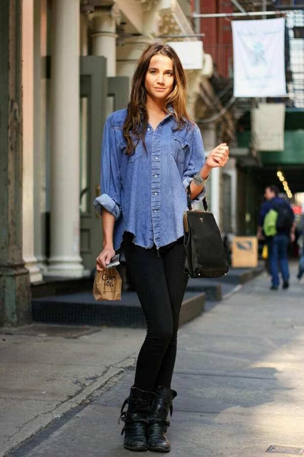Как стильно носить джинсовую рубашку в повседневных образах?
