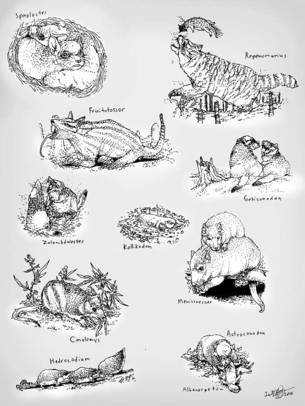 Разнообразие мезозойских млекопитающих. Автор — KakureRyoshiX.