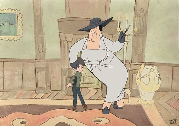"""Пользователь Сети изобразил Леди Димитреску из Resident Evil Village в образе Фрекен Бок из мультфильма """"Малыш и Карлсон"""""""