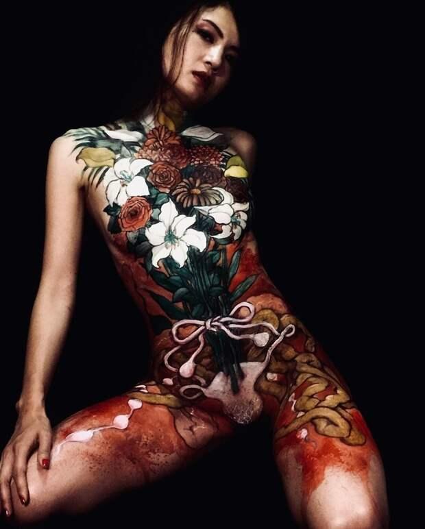 Японский боди-арт отГаку Азума: картины тушью наженских телах