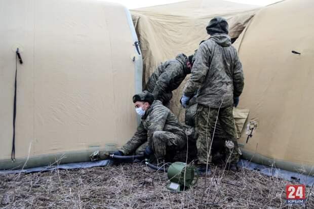 Как военные разворачивают полевой ковидный госпиталь в Симферополе (ФОТО, ВИДЕО)