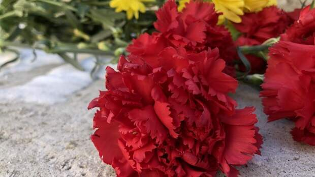 Мэр Казани Метшин на костылях возложил цветы к стихийному мемориалу у школы