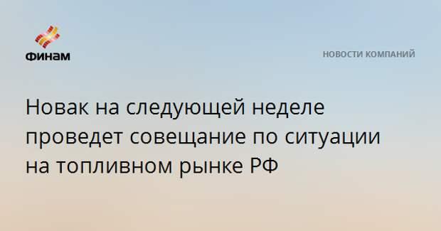Новак на следующей неделе проведет совещание по ситуации на топливном рынке РФ
