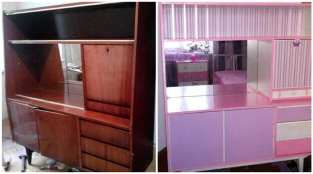 15. А вот дочка никогда не догадается, как раньше выглядел этот шкафчик было стало, красиво, новая жизнь старых вещей, реставраторы, советская мебель