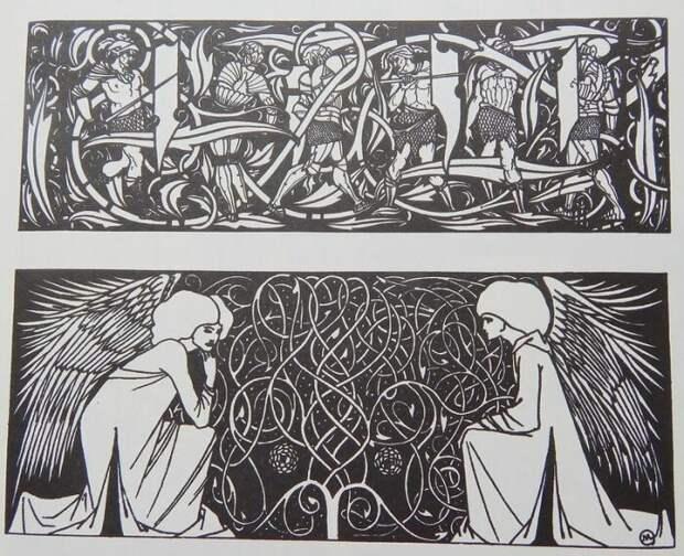Титульные заставки для книги Т. Мэлори «Смерть Артура» 1893-1894 гг. \ Фото: pinterest.ru.