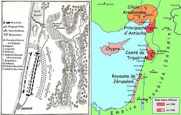 Карта Третьего крестового похода.