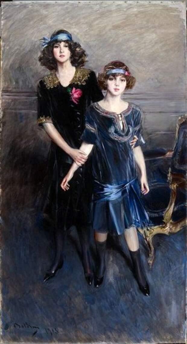 Джованни Болдини. Сестры Мюриэль и Консуэло (названа в честь тетки-герцогини) Вандербильт. 1913