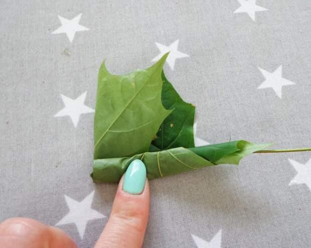Роза из листьев пошагово 8