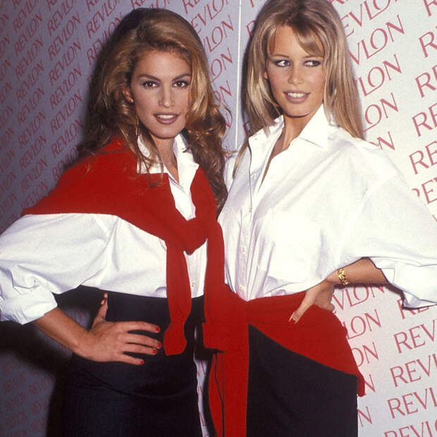 Синди Кроуфорд и Клаудия Шиффер - лица Revlon, 1992