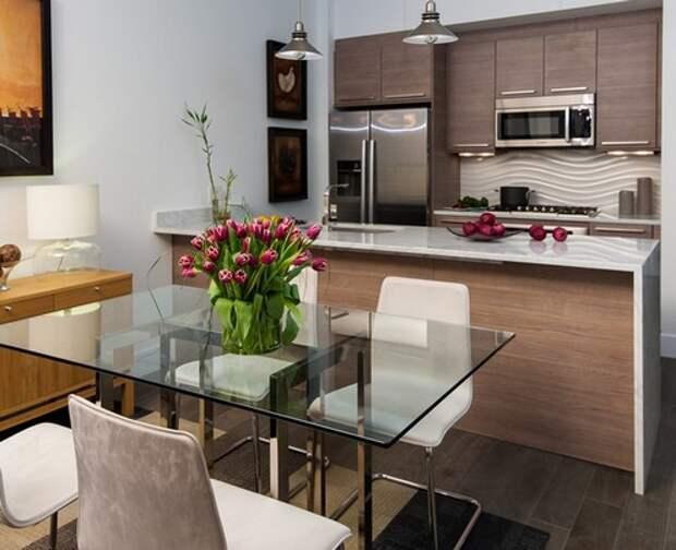 трехмерная плитка на кухне