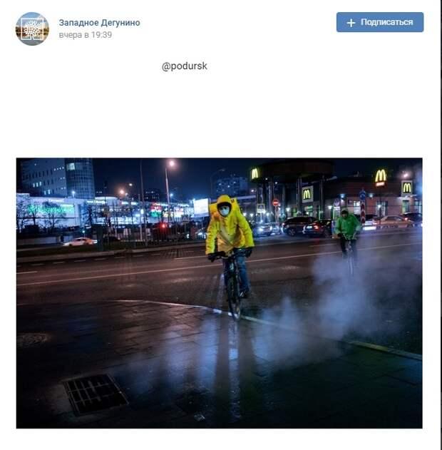 Фото дня: ночные велопоездки у Селигерской