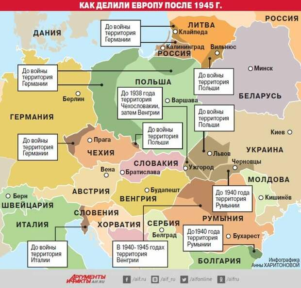 На этой карте прекрасно видно, как в 1945-м победители переделили Восточную Европу
