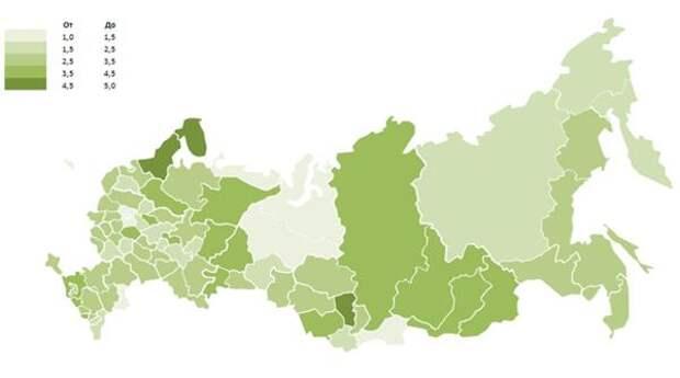 Карта экологичности регионов РФ в 2018 году