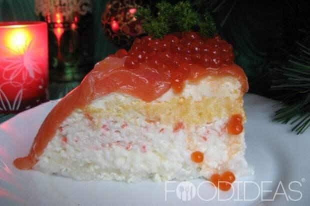 Рыбный торт с семгой