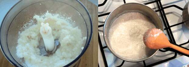 Рисовое молоко: измельчаем в блендере, несколько минут на огне до загустения
