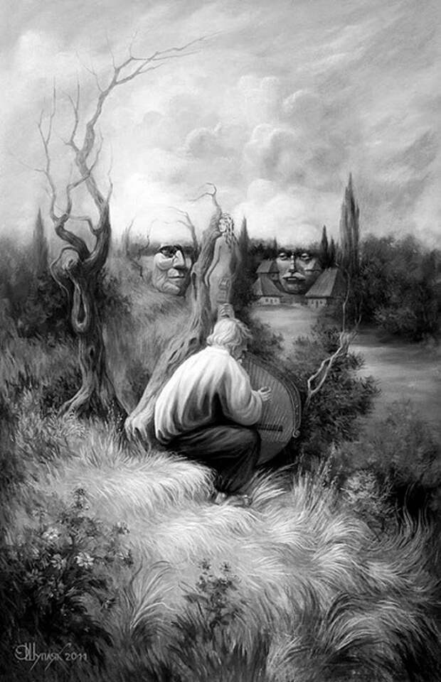 картины с двойным смыслом, художник Олег Шупляк, двоевзоры