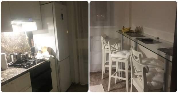1. Откажитесь от стола в пользу барной стойки дизайн, идеи дизайна, интерьер, кухня, маленькая кухня