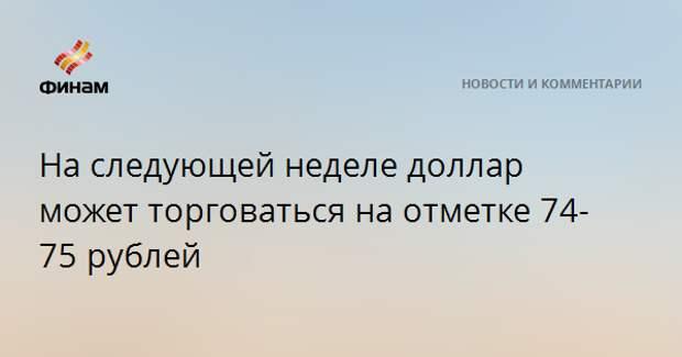 На следующей неделе доллар может торговаться на отметке 74-75 рублей