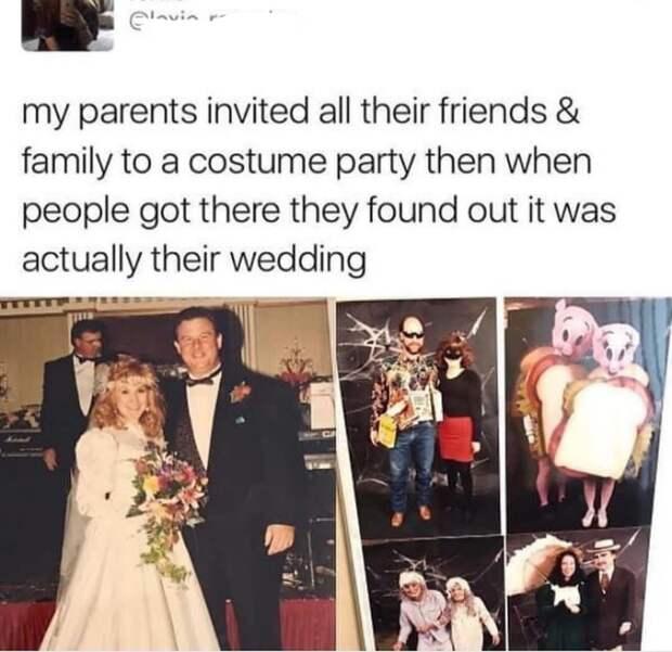 Они позвали всех своих друзей на тематическую вечеринку в костюмах и когда они пришли выяснилось, что это на самом деле их свадьба