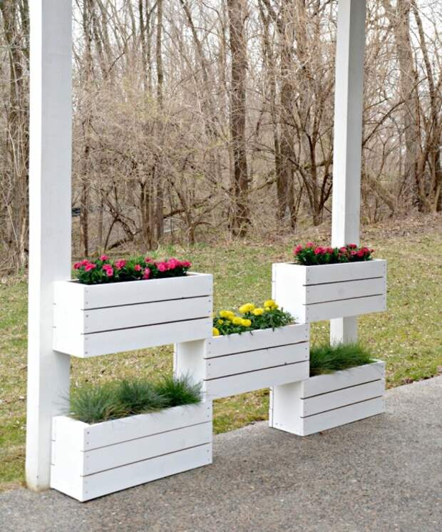 Обычные деревянные ящики отлично подойдут для вертикального озеленения участка.