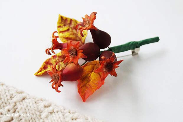 Шиповник из полимерной глины, бижутерия с ягодами