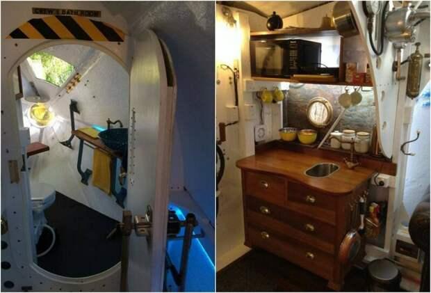 Новозеландец построил желтую подводную лодку в лесу дизайн, креатив, недвижимость, подводная лодка, сделай сам, талант