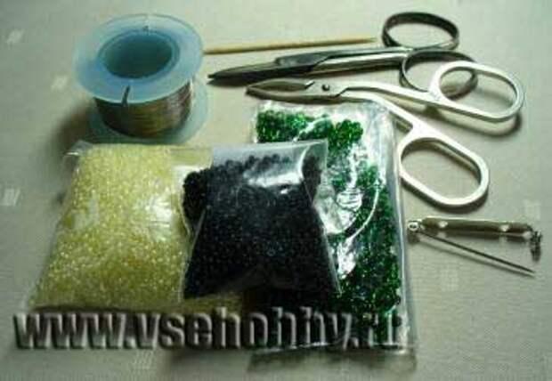 Необходимые материалы для брошки из бисера
