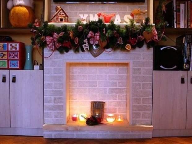 Фальш камин к новому году для домашнего Очага.