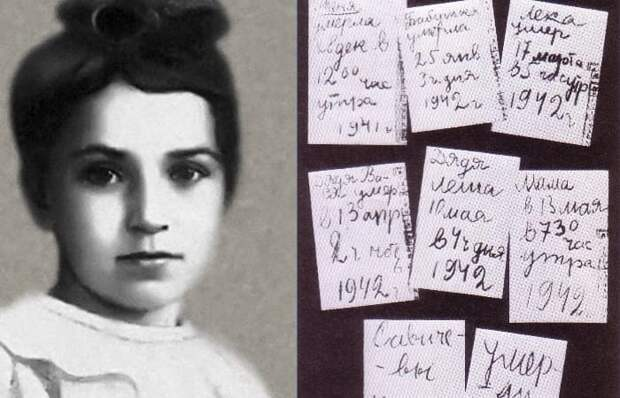 Таня Савичева и страницы ее дневника | Фото: ppt-online.org