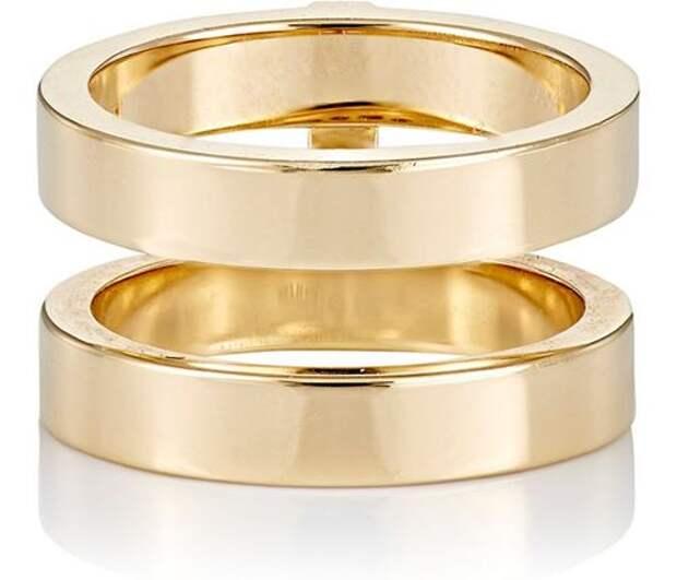 широкое двойное кольцо из желтого золота