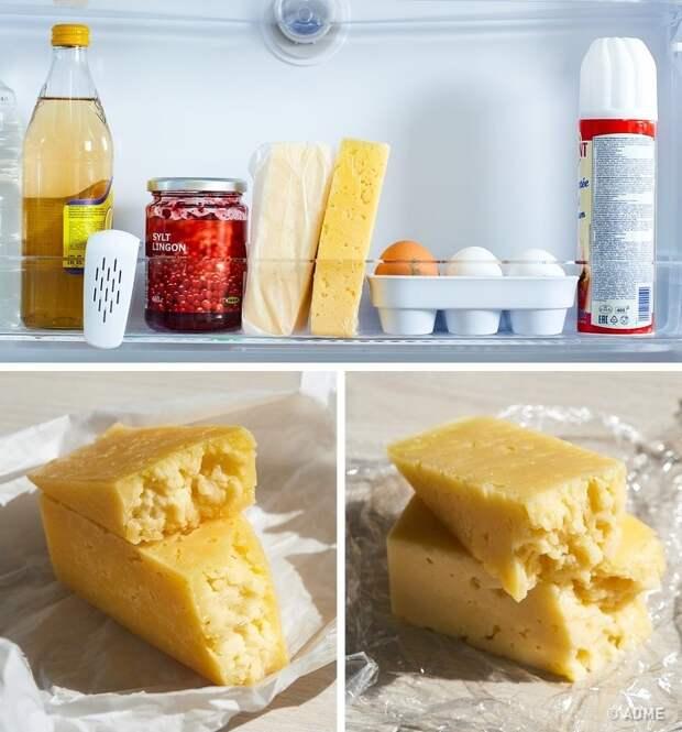 Чтобы сыр не заветрился, нужно хранить его не в пищевой пленке, а в пергаментной бумаге