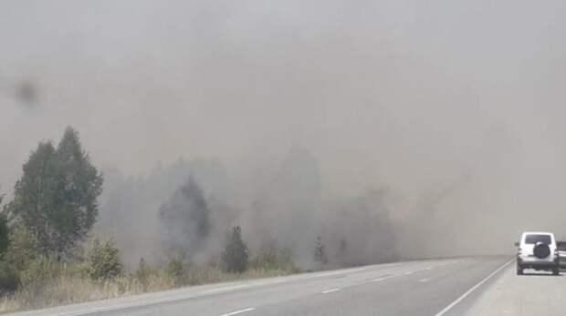 Трассу Тюмень – Екатеринбург перекрыли ГИБДД из-за сильного задымления и пожаров