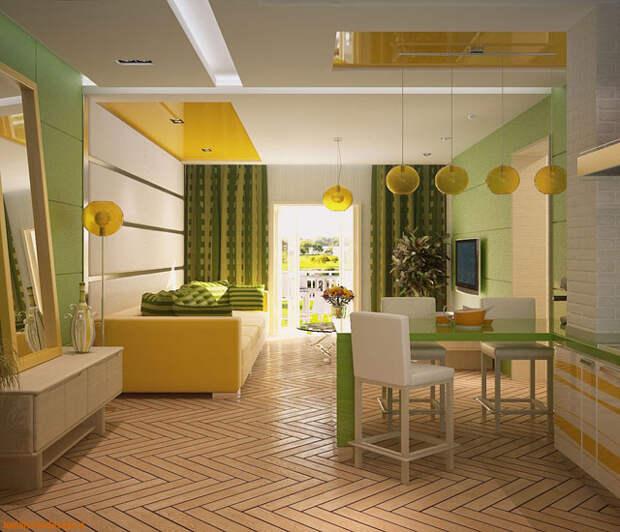 выбор цвета для кухни совмещенной с гостиной