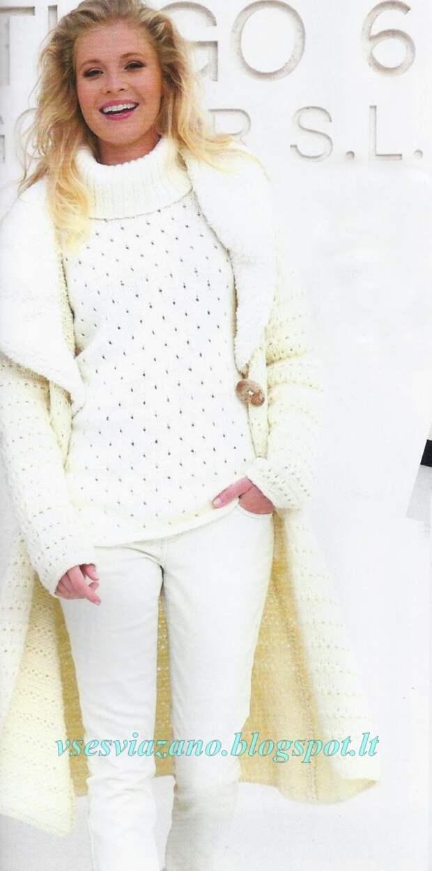 Невероятный комплект из пуловера и пальто спицами