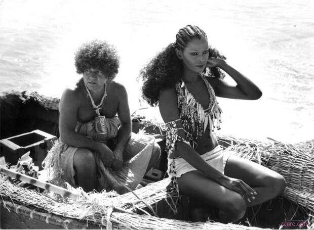 Прекрасная Пятница Зеуди Араяна на съемках комедии «Синьор Робинзон» (1976).